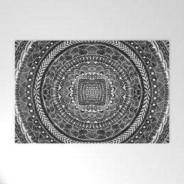 Zentangle Mandala Black and White Welcome Mat
