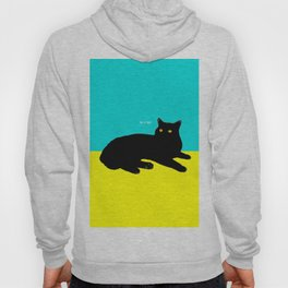 Black Cat on Yellow and Sky Blue Hoody