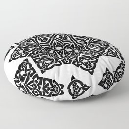 Celtic Knot Ornament Pattern Black and White Floor Pillow