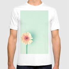 A poem, pink daisy over mint MEDIUM White Mens Fitted Tee