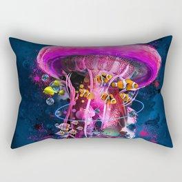 Pink Electric Jellyfish Rectangular Pillow