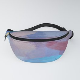 brush painting texture abstract background in blue brown Fanny Pack