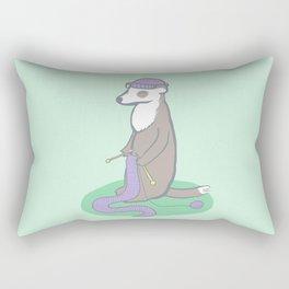 Knitting Ferret Rectangular Pillow