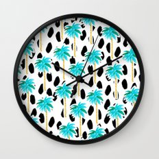 Palm Trees and Dots Wall Clock