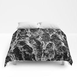 Lava cascade in black and white Comforters