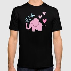 Elephant Love Walk Pink Mens Fitted Tee Black MEDIUM