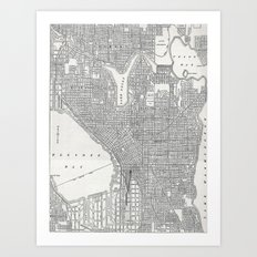 Vintage Seattle Map Art Print