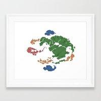 avatar the last airbender Framed Art Prints featuring Avatar the Last Airbender: Map (Fill) by ChemicalCurve