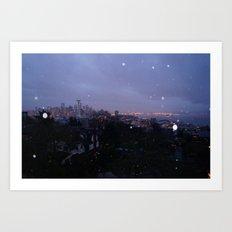 Seattle Skyline at Sunrise During the rain Art Print