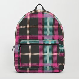 Purple Teal and Grey Fabric Pattern Backpack