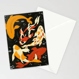 Koi in Black Water Stationery Cards