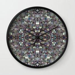 Sparkly colourful silver mosaic mandala Wall Clock