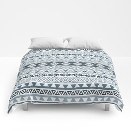 Aztec Stylized Pattern Gray-Blues & White Comforters