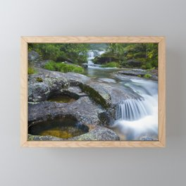 Waterfalls in wild forest Framed Mini Art Print