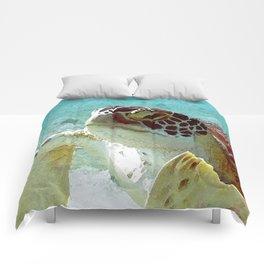 Watercolor Green Turtle Greeting Comforters