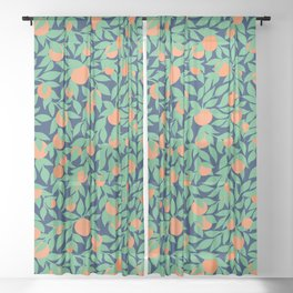 Oranges and Leaves Pattern - Navy Blue Sheer Curtain