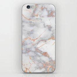 Grey Marble Rosegold  Pink Metallic Foil Style iPhone Skin