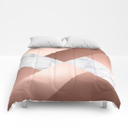 Rose Gold and Marble Color Block Cross Pattern Comforters