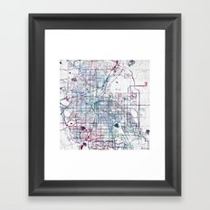 Denver map Framed Art Print