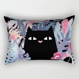 Popoki (Pastel Black Velvet) Rectangular Pillow