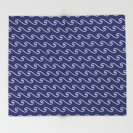 Wave Pattern | Navy Blue and White Throw Blanket