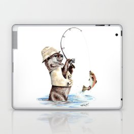 """"""" Natures Fisherman """" fishing river otter with trout Laptop & iPad Skin"""