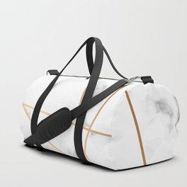 White, Gray, Gold Marble Geometric Pattern Duffle Bag