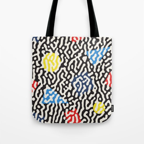 Retro Jumble Black and White Drips And Color Polygons Pattern Abstract Seamless Background Tote Bag