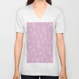 Modern spring pink lavender floral twigs hand drawn pattern Unisex V-Neck
