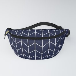Chevron pattern -  white on dark blue Fanny Pack