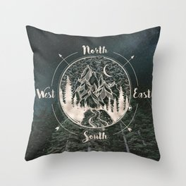 Mountains Compass Milky Way Woods Gold Throw Pillow