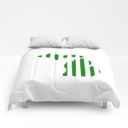 Green and White Michigan Comforters