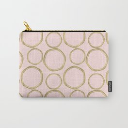 Blush Pink & Gold Circles Carry-All Pouch