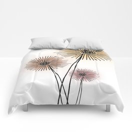 Coral pink Dandelion Comforters