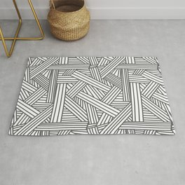 Sketchy Abstract (Grey & White Pattern) Rug