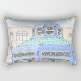 Mizner Park Boca Raton, Florida Watercolor Illustration/ Boca Raton Mizner Park Walking Street Art Rectangular Pillow