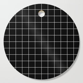 Grid Pattern Line Stripe Black and White Minimalist Geometric Stripes Lines Cutting Board