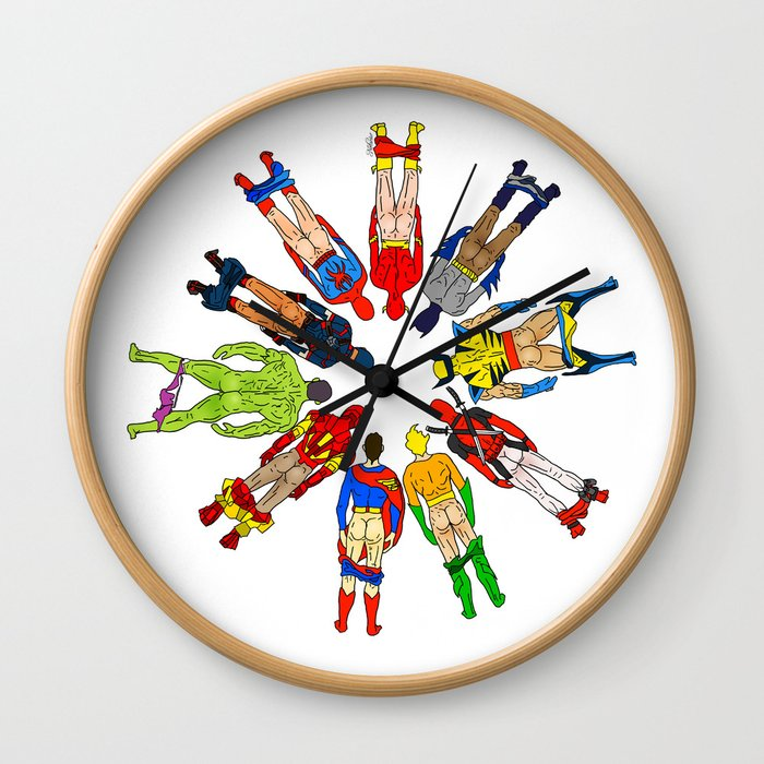 Superhero Butts Wall Clock