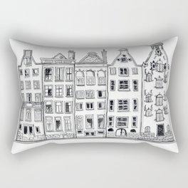 Amsterdam Canal Houses Sketch Rectangular Pillow