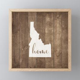 Idaho is Home - White on Wood Framed Mini Art Print