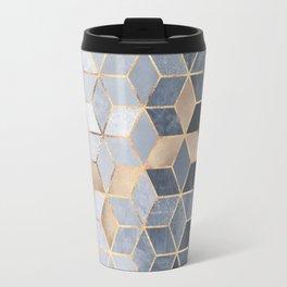 Soft Blue Gradient Cubes Travel Mug