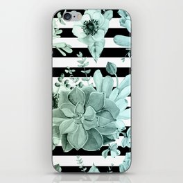 Succulents in the Garden Teal Blue Green Gradient with Black Stripes iPhone Skin