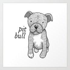 Dog Breeds: Pit Bull Art Print