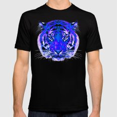 camouflage tiger on blue LARGE Black Mens Fitted Tee