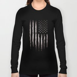 White Grunge American flag Long Sleeve T-shirt