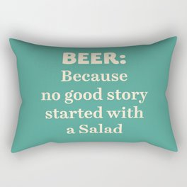 Beer illustration quote, vintage Pub sign, Restaurant, fine art, mancave, food, drink, private club Rectangular Pillow