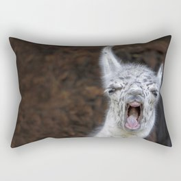 Young Lama with a big mouth | Junges Lama mit grosser Klappe Rectangular Pillow