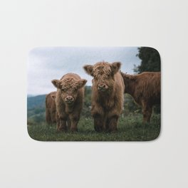 Scottish Highland Cattle Calves - Babies playing II Bath Mat