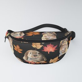 Rabbits and autumn leaves Fanny Pack