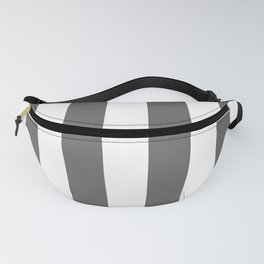 Ash Gray and White Vertical Cabana Tent Stripes Fanny Pack
